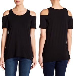 LAmade Cold Shoulder Short Sleeve Tee XS Black